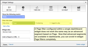 Page filter in dashboard widget