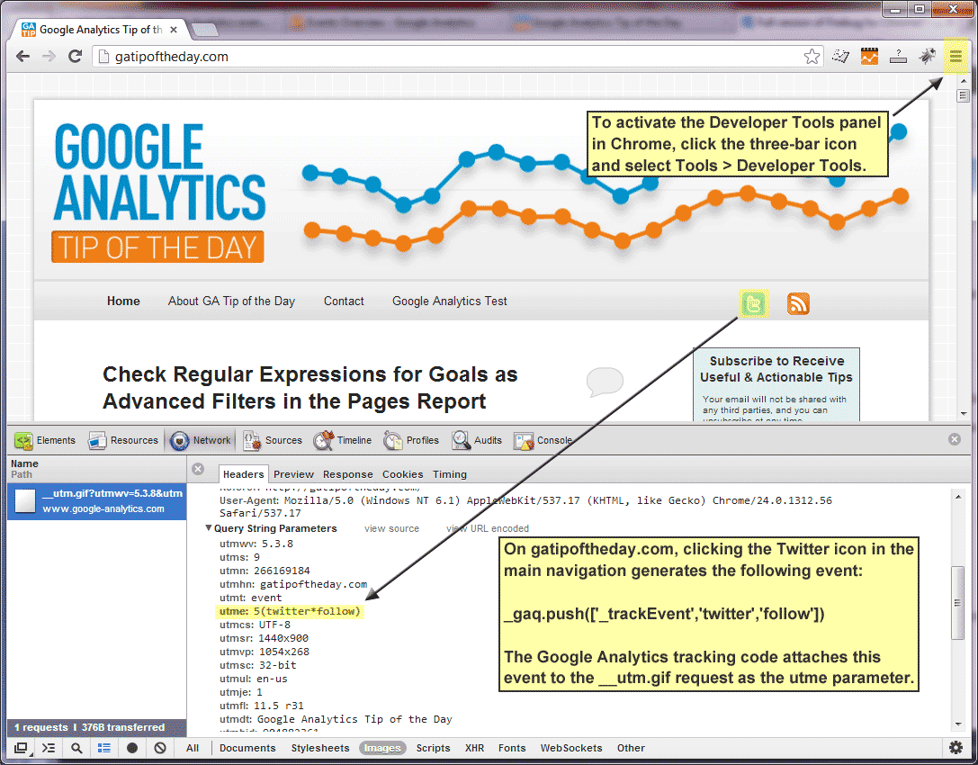 Check Pageview and Event Tracking with Chrome Developer Tools
