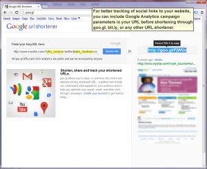 Add campaign parameters to a URL before shortening