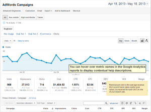 Popup help for Google Analytics report metrics