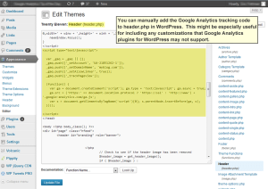 Google Analytics Tracking Code manually added to WordPress header